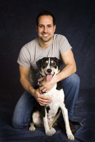 Hunky Carpenter Chad Lopez with his dog Guinness